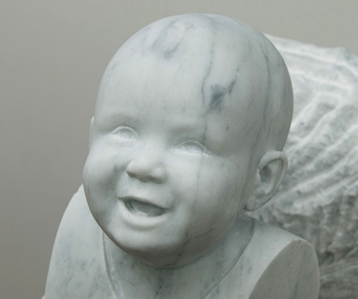 Portrait sculpture in carrara marble by british portrait artist Matt Harvey. Commissioned in 2013