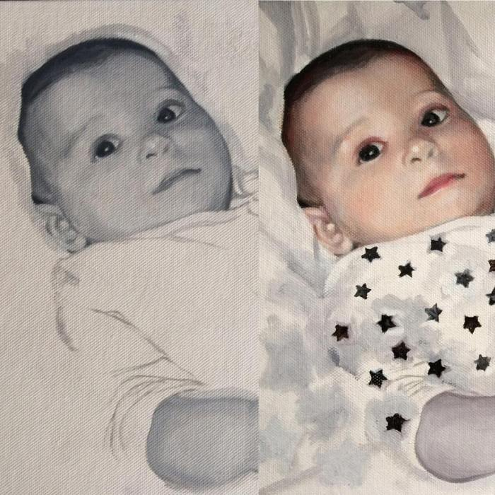 Showing before and after the 1st glaze over grisaille underpainting on a custom child portrait by British portrait artist Matt Harvey