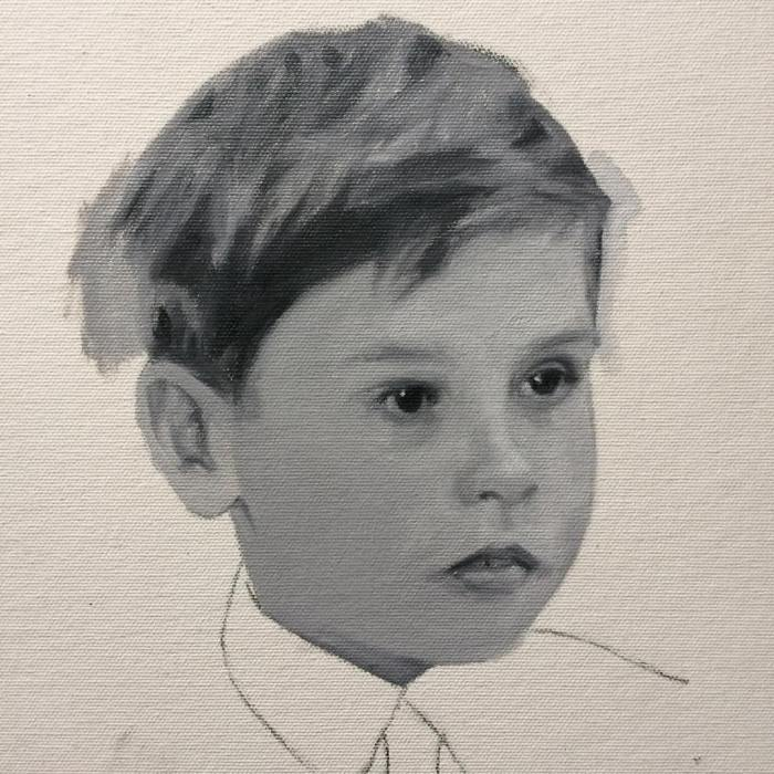 grisaille portrait painting of a boy by British contemporary portrait painter and artist Matt Harvey from Devon, UK