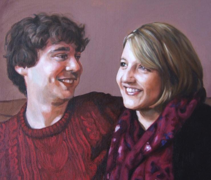 Anna and Simon detail, oil on canvas, Matt Harvey