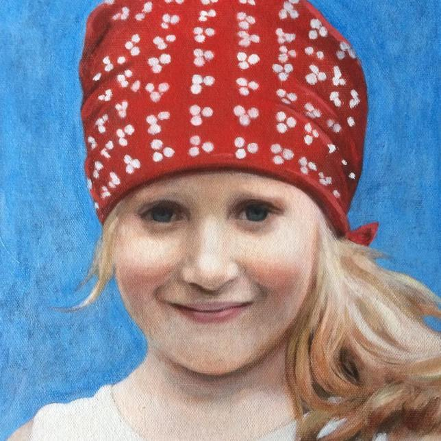 A portrait painting commission of a girl, using grisaille technique and oil glazes