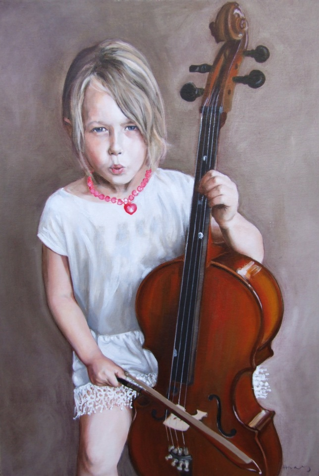 Portrait of a girl playing the Cello by British portrait painter Matt Harvey, based in Devon, UK. In oil on canvas, using raw umber and titanium white grisaille underpainting