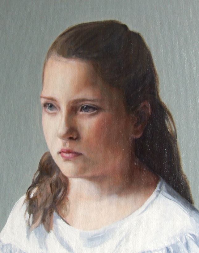 Portrait painter Matt Harvey created this portrait of a girl in oil on canvas as part of a portrait commission to a private client