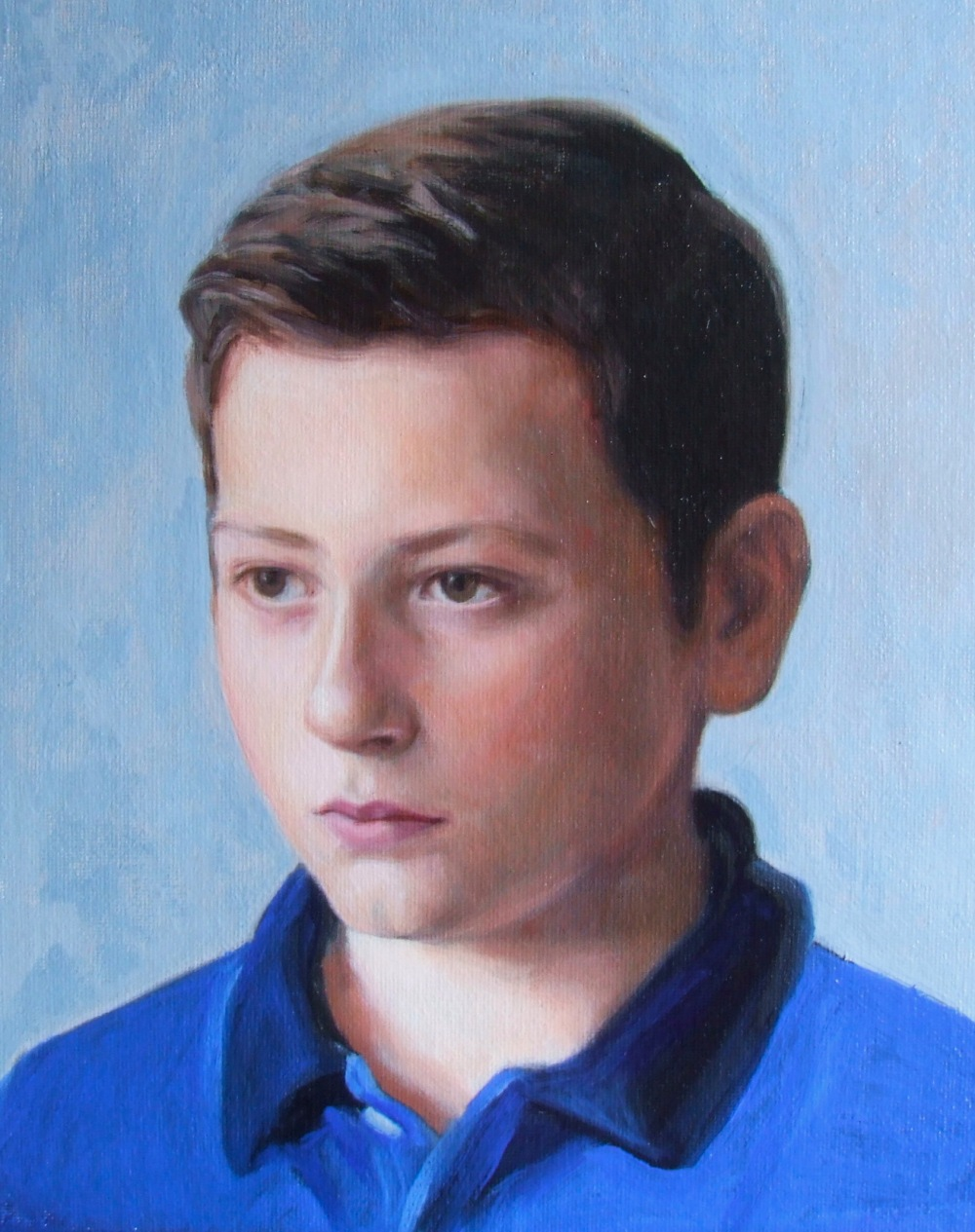 Portrait of a boy, oil on canvas using the grisaille method by British portrait artist matt Harvey