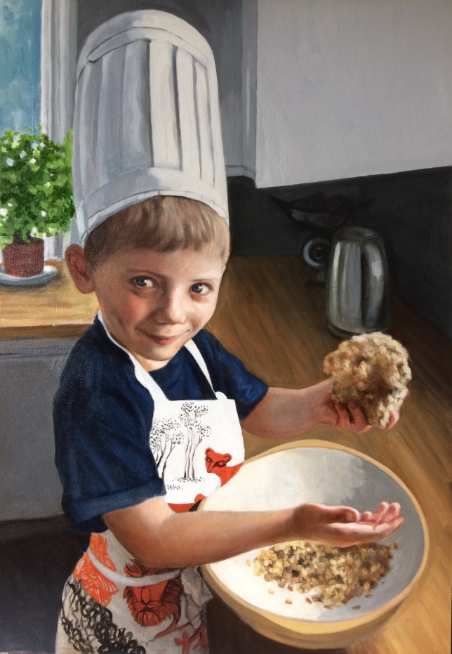 This is a portrait of a young man baking, commissioned from Devon based British portrait painter and artist Matt Harvey.
