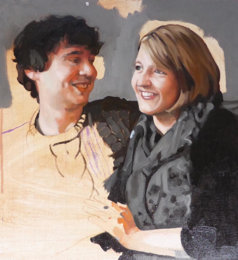 Anna and Simon, progress 1, Oil on canvas, Matt Harvey