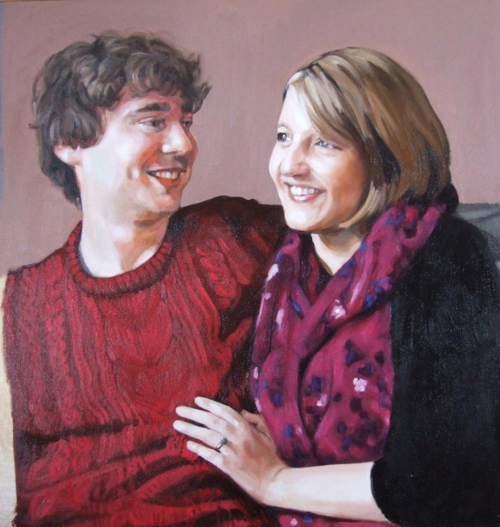 Anna and Simon progress 4, oil on canvas, Matt Harvey Art