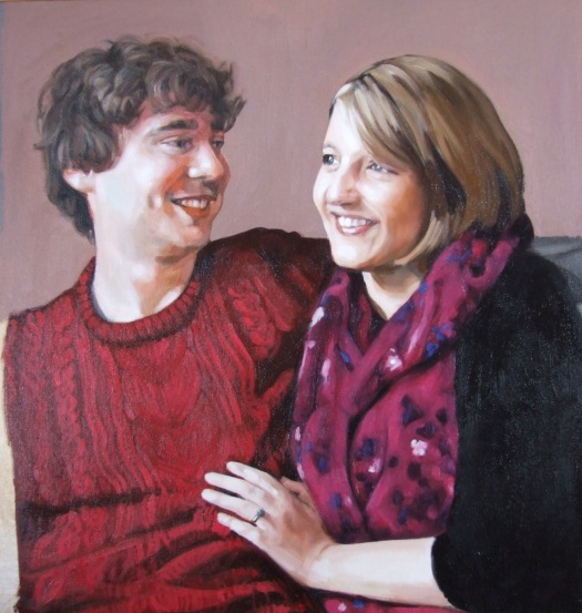 Anna and Simon progress 4, oil on canvas, Matt Harvey Art