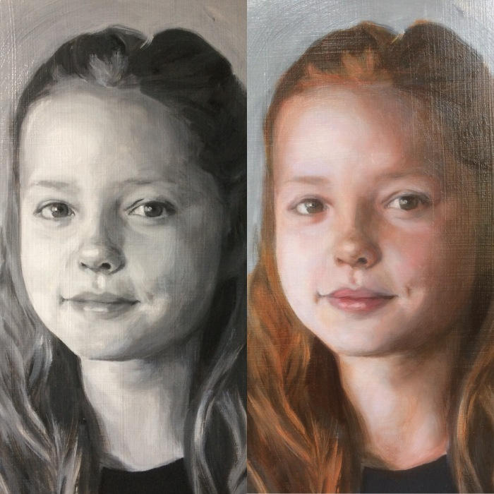 Image showing before and after views of a portrait painting commission where the first glaze in oil paint has been painted over a grisaille underpainting