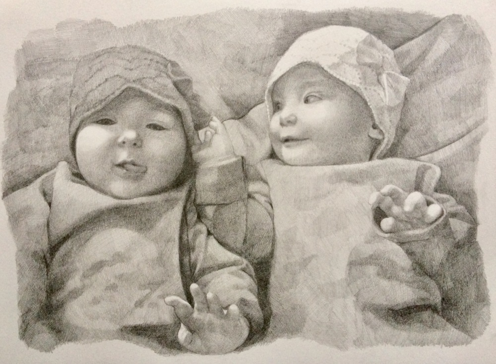 custom portrait commission, drawing of twin girls, pencil on paper