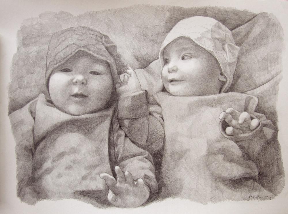 Custom portrait art, pencil portrait. Commissioned art drawn by portrait artist Matt Harvey