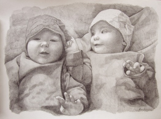 Custom portrait art, pencil portrait. Commissioned art drawn by portrait artist Matt Harvey