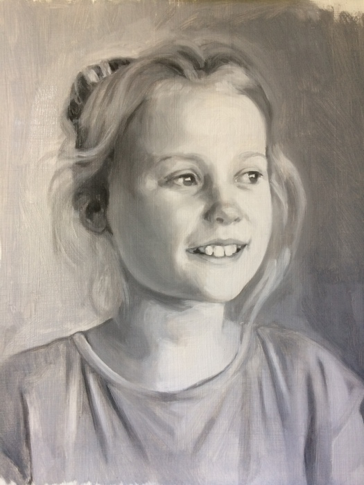 Grisaille portrait commission in oil paints, before first glaze.