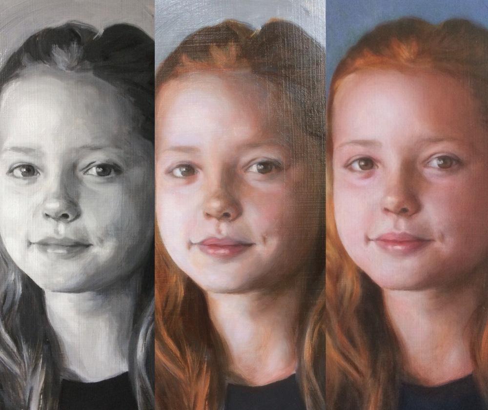 Portrait painting commission in 3 stages by British contemporary portrait artist Matt Harvey, based in Devon, UK