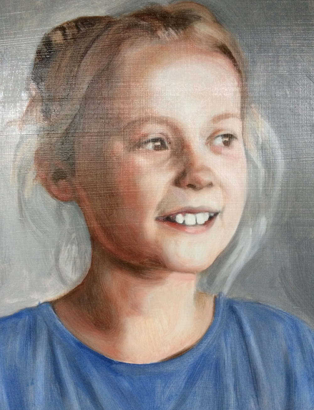 First glaze over a grisaille underpainting, oil on board by portrait painter and artist Matt Harvey