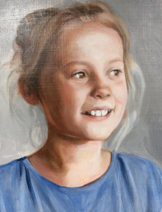 Second oil glaze on a commissioned portrait painting by British portrait painter and artist Matt Harvey