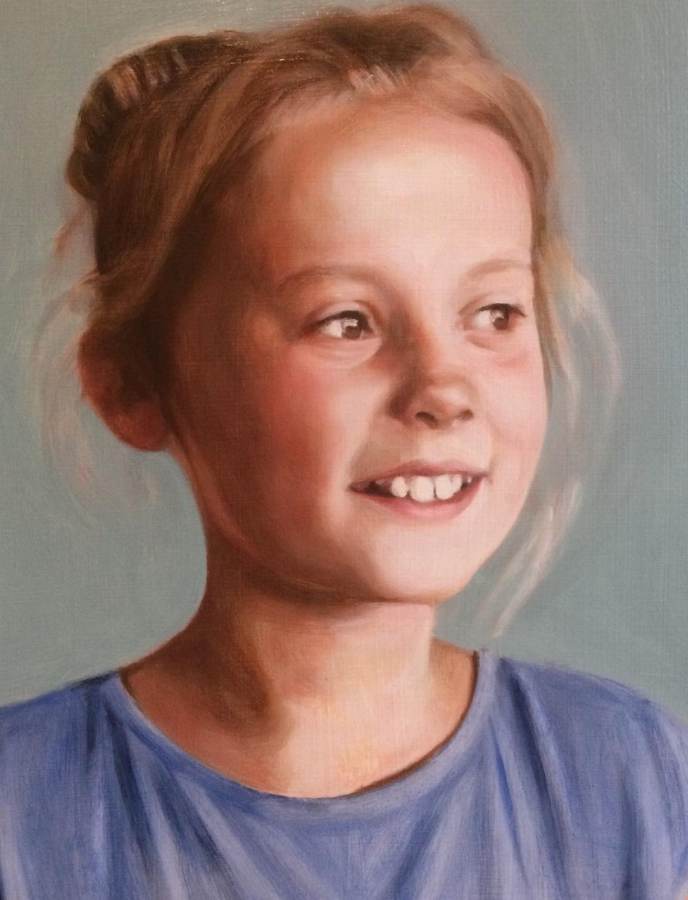 3rd oil glaze on a grisaille portrait, from a portrait painting commission by British portrait painter Matt Harvey