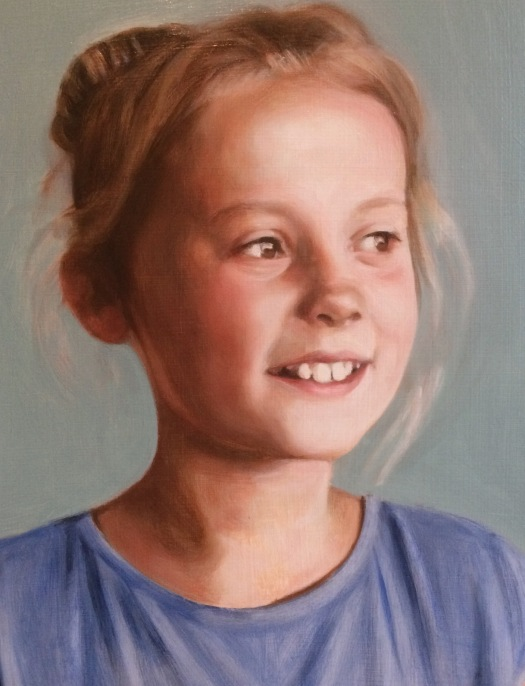 3rd oil glaze on a grisaille portrait, from a portrait painting commission by British portrait painter Matt Harvey