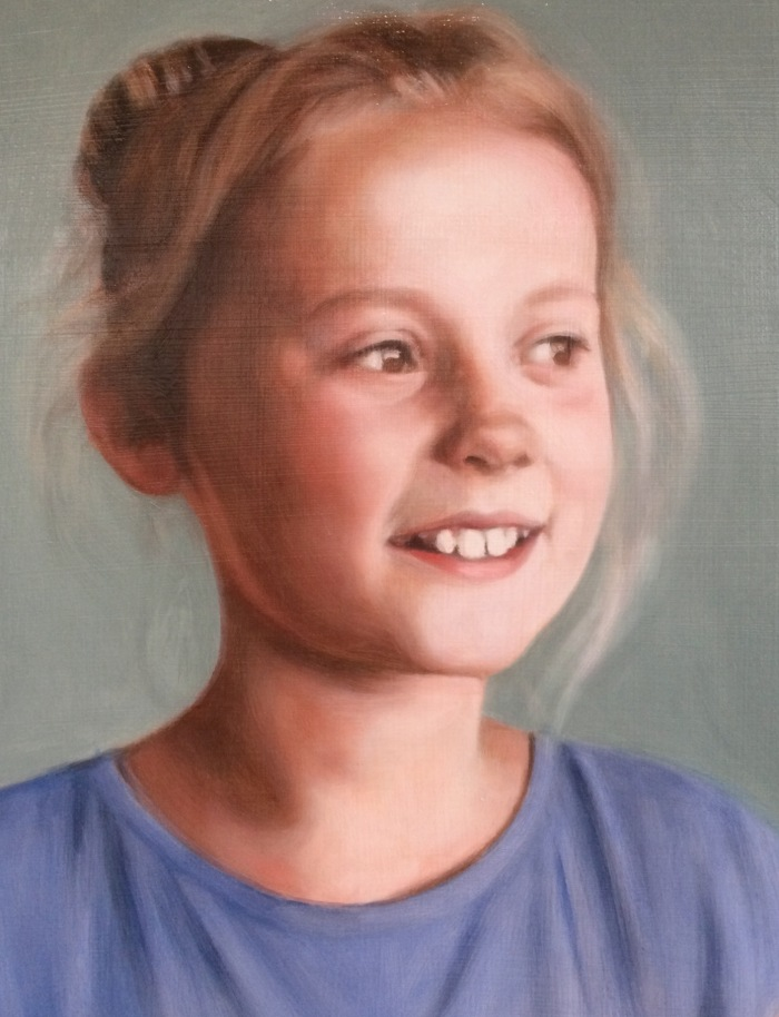 Ruby 4th glaze, oil on board, custom portrait commission by portrait painter Matt Harvey,oil on board
