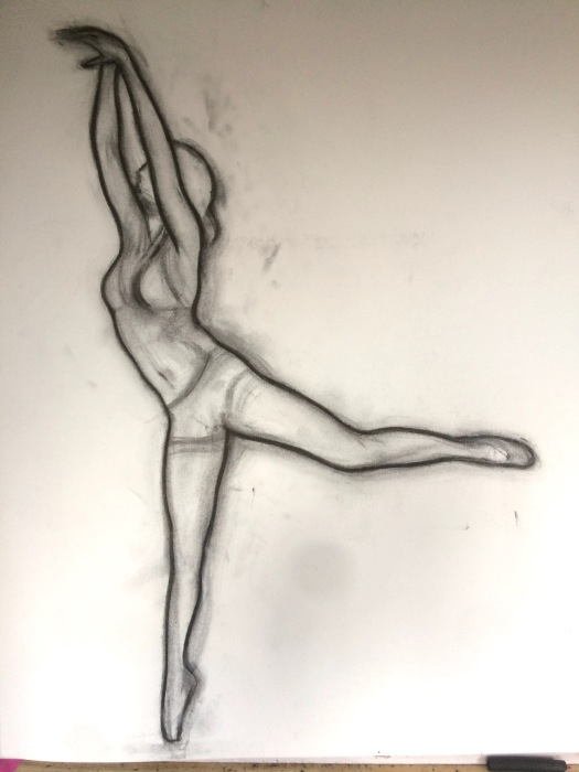Charcoal drawing of a dancer by contemporary portrait painter and artist Matt Harvey