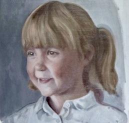 portrait of millie, 1st glaze, oil on board, portrait painting commission