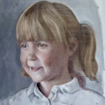 portrait of millie, 1st glaze, oil on board, portrait painting commission