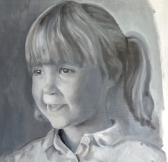 portrait of millie, grisaille, custom portrait painting by uk portrait painter matt harvey