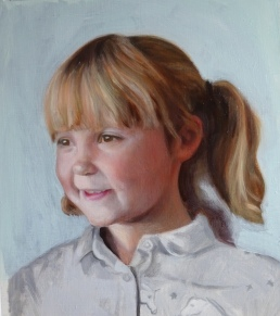 portrait of Millie, oil on board, 2nd glaze over grisaille, portrait painting by british portrait artist Matt Harvey