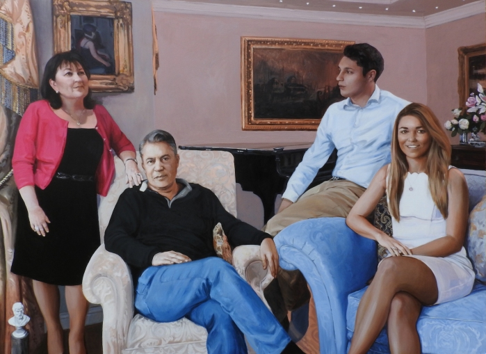 group portrait commission by contemporary british portrait painter and artist Matt Harvey