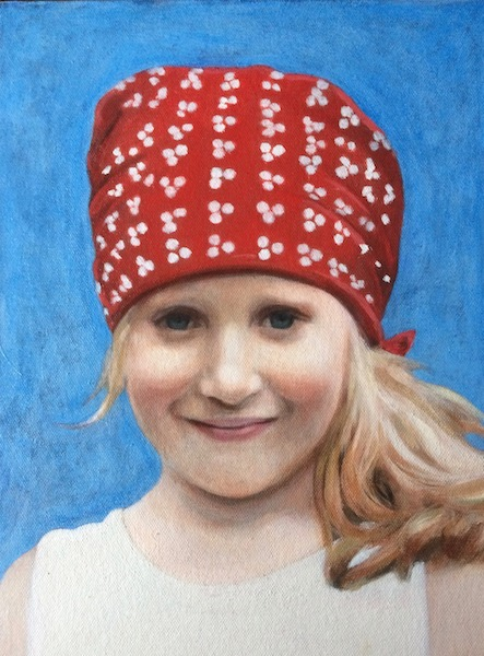 Portrait painting done in glazes by Matt Harvey, UK portrait painter and artist
