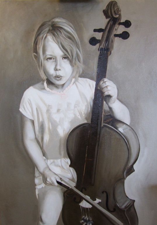 Commissioned portrait of a young cellist by matt harvey uk portrait artist and painter. painted in grisaille using raw umber and titanium white