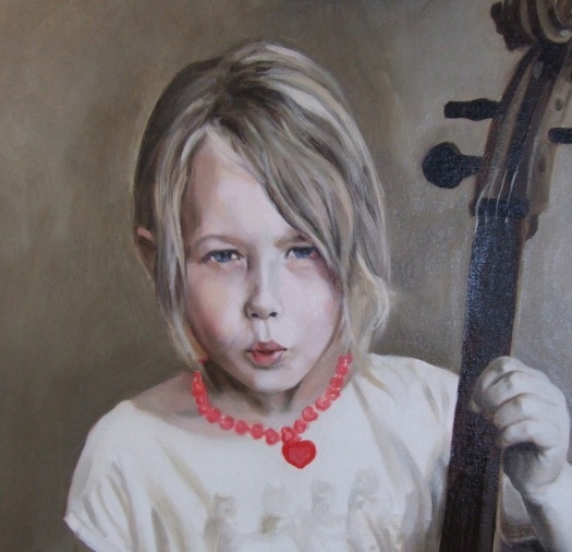 Detail of a portrait painting showing the first glaze over a grisaille underpainting by UK portrait artist Matt Harvey. The subtle glazes reveal the character and life of the sitter, and give great depth to this portrait commission