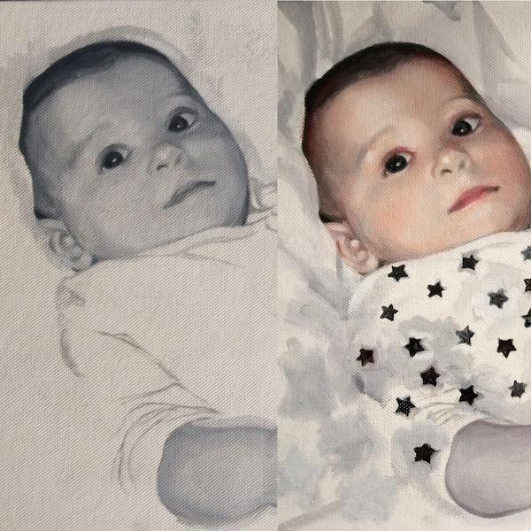 Portrait painting commission painted in grisaille oil paints with glazes. By Devon based UK portrait painter Matt Harvey
