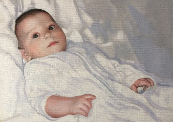 Portrait painting of a baby by Devon based UK portrait painter and artist Matt Harvey. A portrait commission in oil on canvas