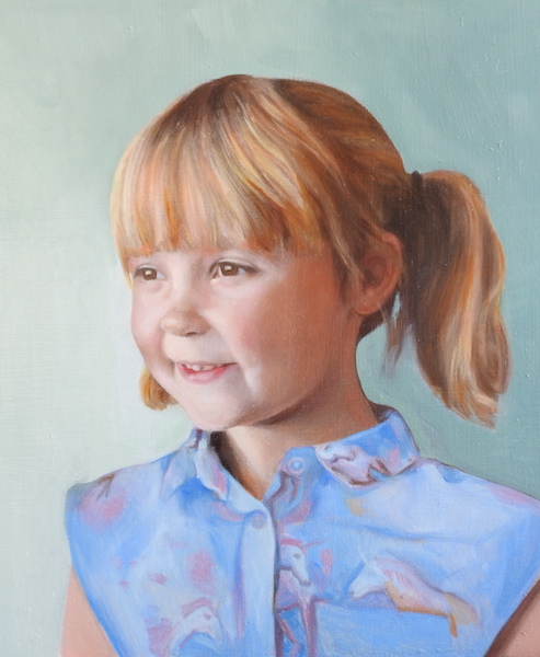 Commissioned portrait painting in oil on board by Matt Harvey, UK portrait painter. Prices for portrait commissions are included on my page commission a portrait