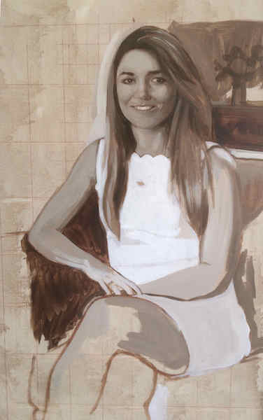 Detail of grisaille underpainting, on a portrait painting in progress by portrait painter Matt Harvey