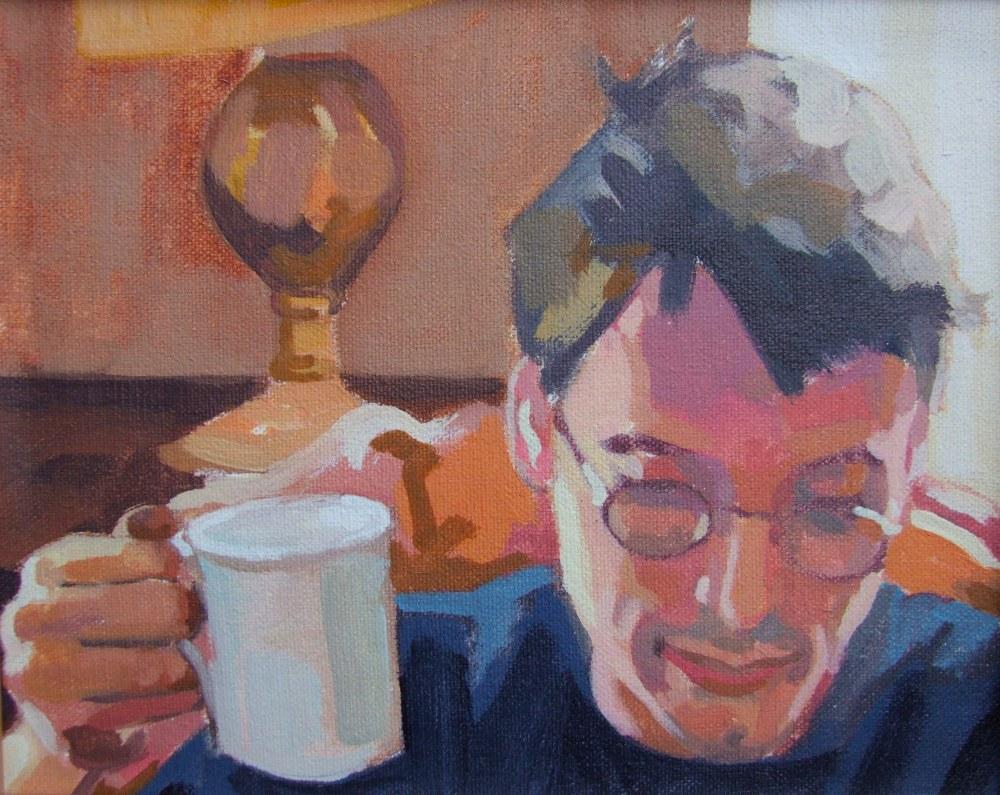Portrait painting by Matt Harvey, British portrait painter and artist. Oil on canvas