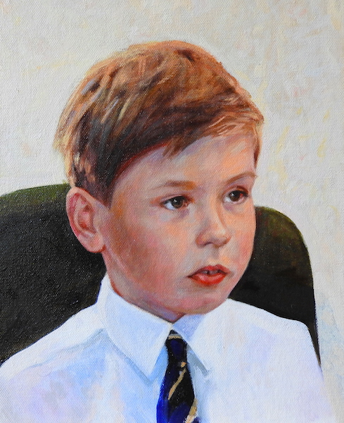 Portrait painting of a boy commissioned from UK portrait painter Matt Harvey. For prices of portrait paintings please see my page, commissioning a portrait painting
