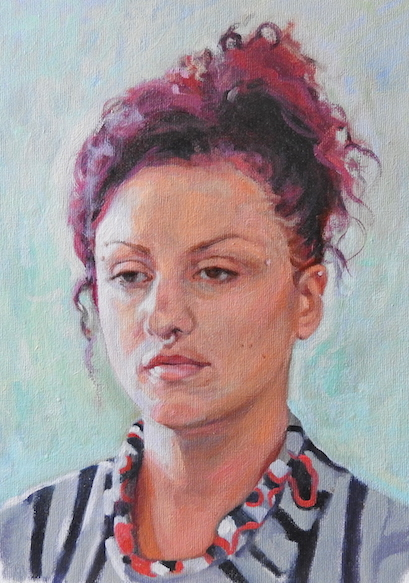 portrait painting in oil on canvas by UK portrait painter Matt Harvey. Based in Devon Matt is currently taking commissions for portraits. See page commissioning a portrait for details about pricing