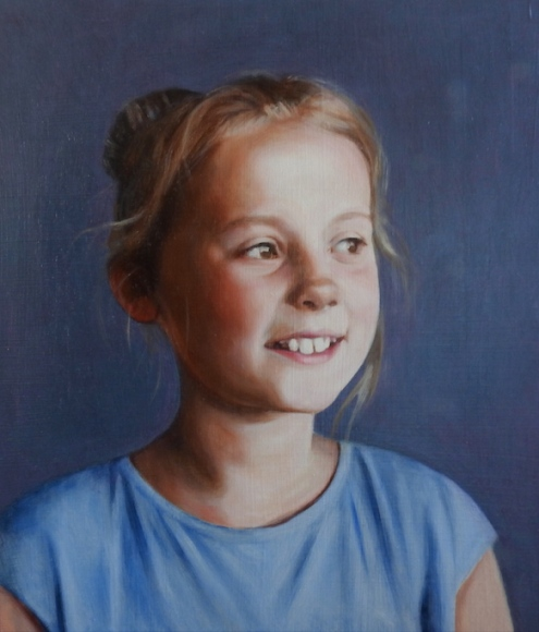 portrait of a girl laughing. Price of commissioning a portrait painting are on the page commissioning a portrait