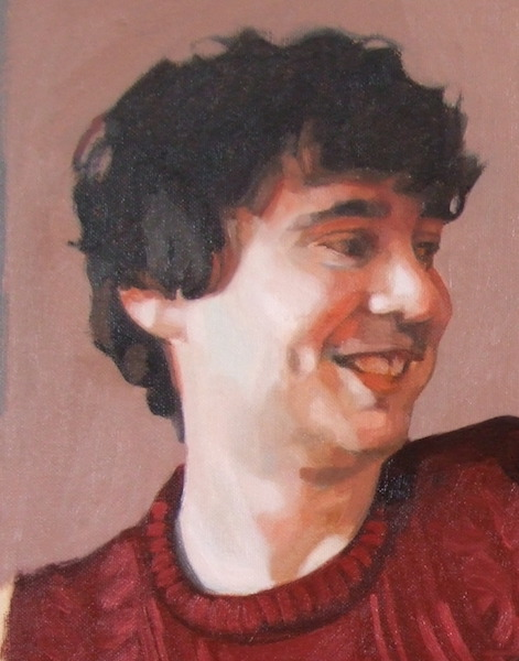Portrait painting in progress by Matt Harvey, UK portrait painter and artist, taking commissions