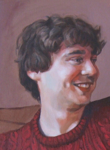 detail of the final portrait painting, commissioned from and painted by UK portrait artist Matt Harvey
