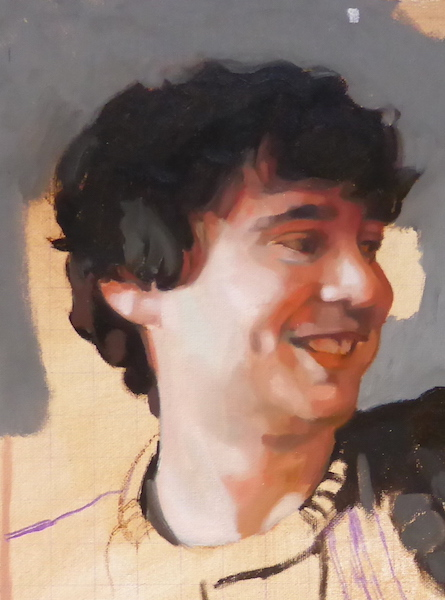 detail of a commissioned portrait painting by UK portrait artist Matt Harvey