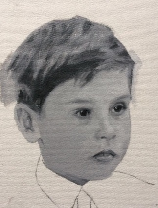 Grisaille underpainting, painted in titanium white and ivory black