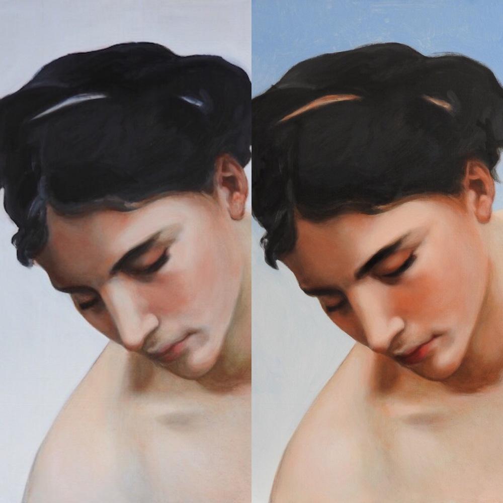 Bouguereau copy 1st and 2nd glaze