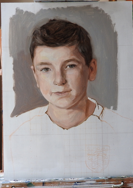 1st sitting from life on this portrait painting of a young england football fan. Painted in oil on board by UK contemporary artist Matt Harvey