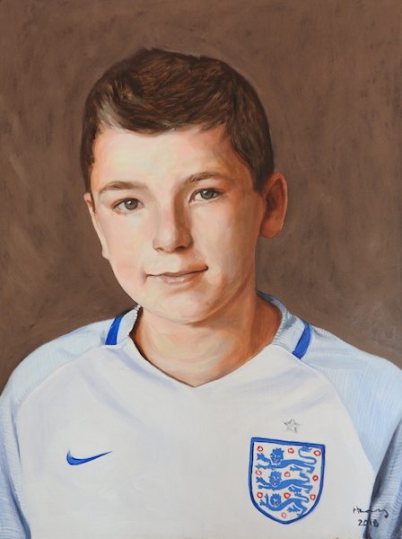 A portrait in oil on board of a young england football fan. Painted to commission by Devon based UK portrait painter and artist Matt Harvey