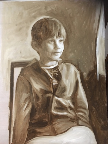 Jacob, grisaille, oil on board, Matt Harvey Art SMALL