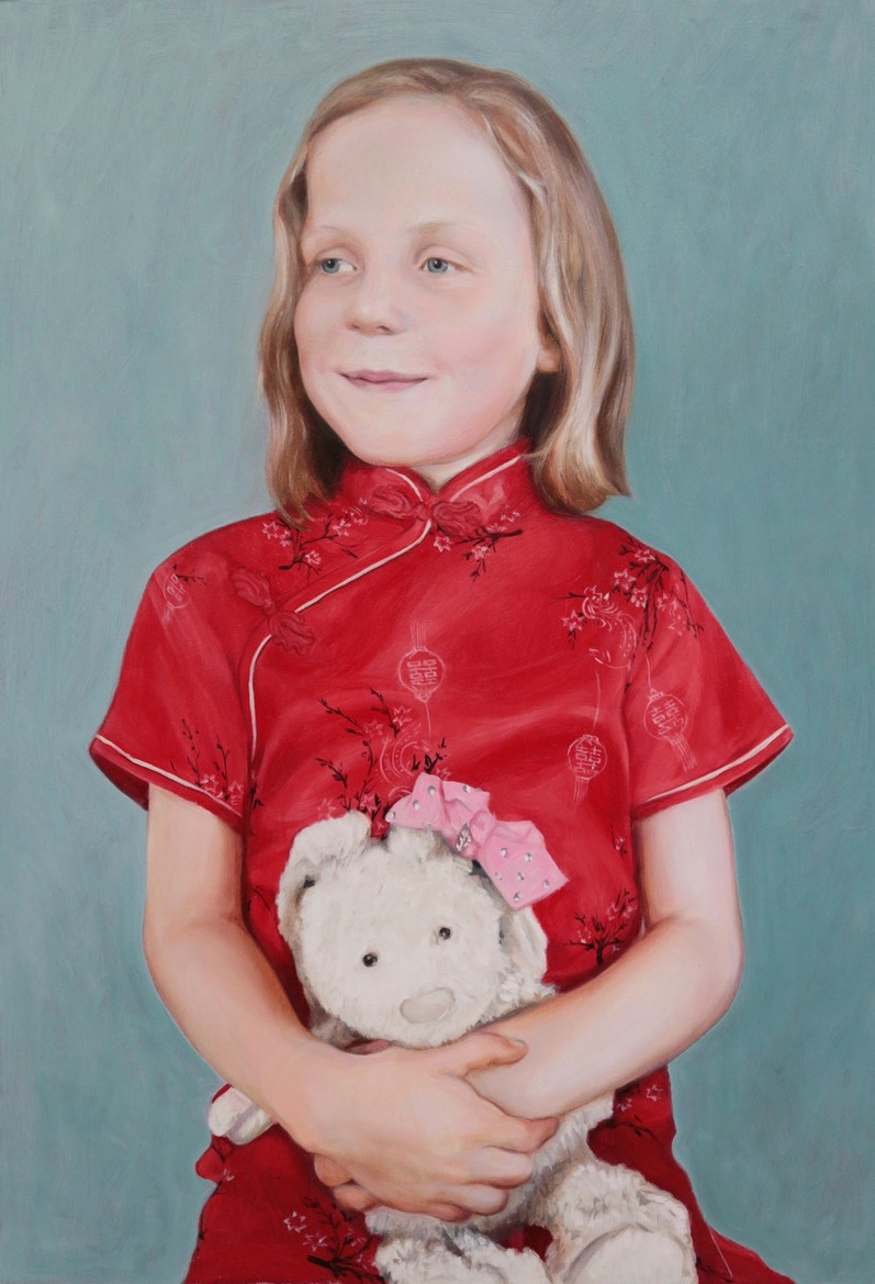 full length photo of a portrait painting by international portrait artist Matt Harvey. Girl in a red chinese dress holding her favourite teddy