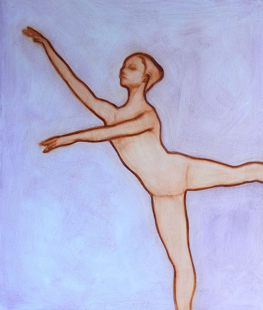 Oil painting of a dancer in 3rd arabesque by Matt Harvey, contemporary artist and portrait painter